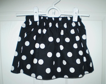 Black Polka Dot  Skirt Sizes 6M,12M,18M,2T,3T,4T,5,6