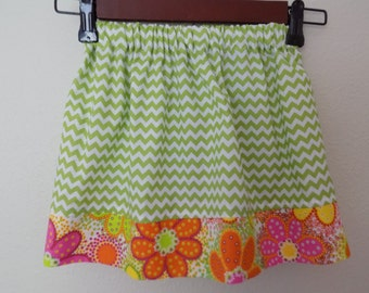 Green Chevron Print and Bright Floral Skirt