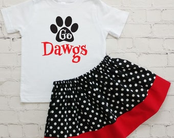 Bulldogs Girls Game Day Outfit, Team Spirit Costume, Dawgs Kids Outfit, Toddler Dawgs Tee and Skirt