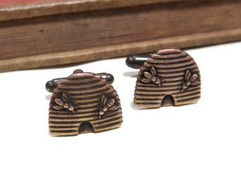 Brass Beehive Cufflinks Antiqued Brass Honey Bee Hive Cuff Links Cosmic Firefly Men/'s Cufflinks Handcrafted Steampunk Cufflinks