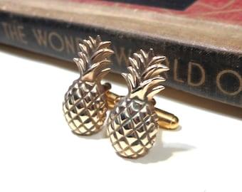 Raw Brass Pineapple Cuff Links - Tropical Fruit Beach Wedding Cufflinks Soldered