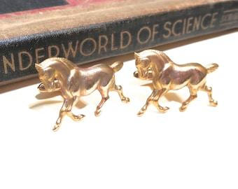 Raw Brass Galloping Horse Cuff Links - Wedding Cufflinks Soldered - Equestrian Horse Head Equine Antiqued