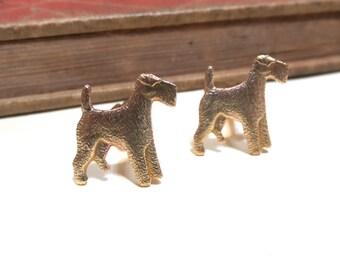 Raw Brass Dog Cuff Links - Airedale Terrier - Scottish Terrier - Hound - Soldered - Man's best friend - Puppy