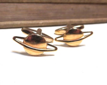 Raw Brass Saturn Cufflinks - Space Cufflinks - Planet Cufflinks - Science Cufflinks - Astronomy Cufflinks - Gold Cuff links NASA