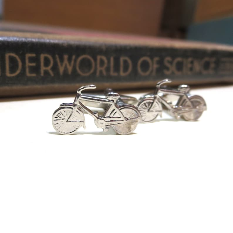 Antiqued Silver Bicycle Cuff Links Bike Cycling Racing Wedding Cufflinks Soldered Antique Small Biking