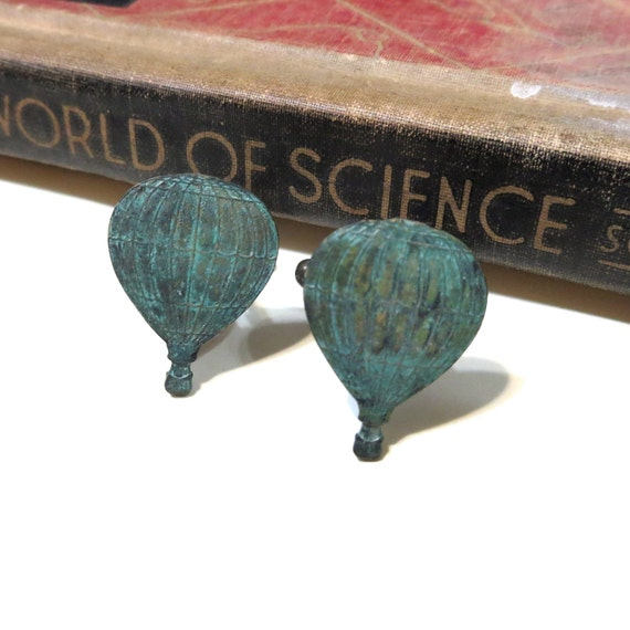 Victorian Hot Air Balloon Cuff Links Steampunk Fly Away with Me World/'s Fair Antiqued Brass