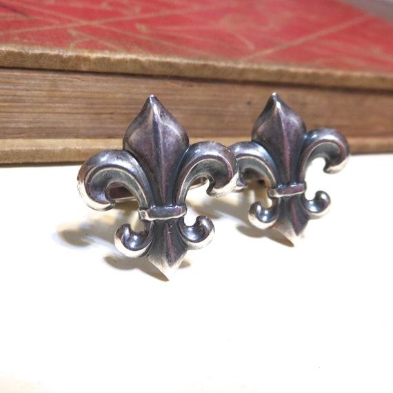 Antiqued Silver Fleur de Lis Cuff Links Soldered France French Wedding Antique Gold Cufflinks Saints Boy Scouts