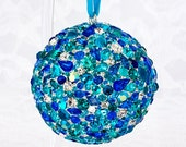 Coastal Jeweled Blue Ornament Ball Swarovski Rhinestones Hanging Nesting Aqua Turquoise Mosaic Orb Sphere Boho Home Accent Decor Free Stand