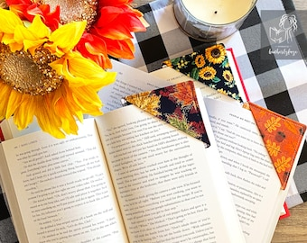 Fabric Corner Bookmark –– Gifts for readers, book lovers –– Your choice of fall, autumn, Halloween prints