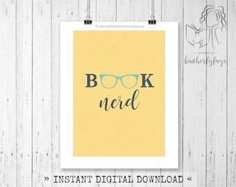 Book Nerd Digital Art, Instant Download, Wall Decor