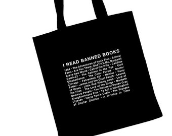 BANNED BOOKS TOTE 100% Cotton Shopping Bag w Banned Books List for  Librarians 9d68af659c15d