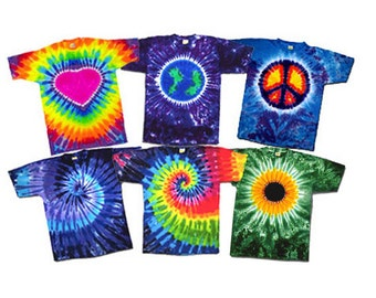 Tie Dyed Tees for All Ages - Your Choice of Pattern in Youth S-L, or Adult S-2XL TieDye 100 percent Cotton Teeshirt