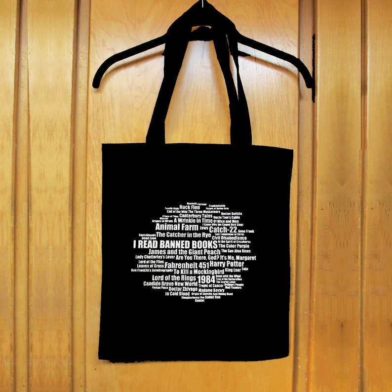 8613ae2ddcd4 BANNED BOOKS TOTE 100% Cotton Shopping Bag w Banned Books List