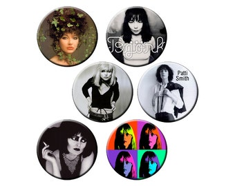 """Indie Women Badge Pack #6 - Indie Band Rocker Chicks and Female Artists - Six 1.25"""" Indie Pinback Buttons or Pins"""