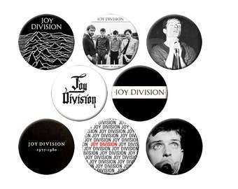8 Joy Division Badges - Pack of 8 Small 1.25 inch Pin Back Buttons - Joy Division with Ian Curtis - 6 Small Pins
