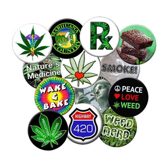 "24 Weed Pins Choose 24 Small 1.25/"" Marijuana Cannabis Pinback Pot Buttons"