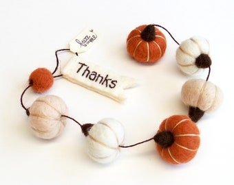 "Autumn mini pumpkin garland, Needle felted miniature pumpkins 1"" - burnt orange, white, vanilla - felt fall Bohemian decor, Thank you gift"