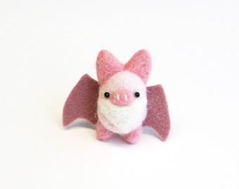 Pink felt bat brooch, needle felted miniature animal pin, woodland gift, animal accessories, funny animals