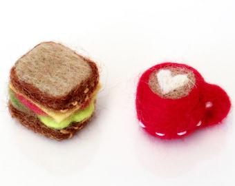 "Miniature felt food, needle felted red cup latte and sandwich, dollhouse, tiny felt toy 1"" mini felt art, craft project, Christmas gift"