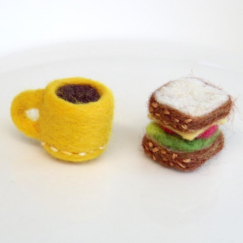 Miniature felt food needle felted sandwich  coffee cup image 0