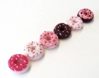 "Miniature felt donuts, needle felted pink doughnut half dozen set, doll house, mini wool foods 5/8"" (1.5cm)"