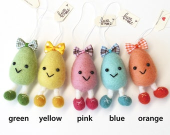 Spring Egg ornament : needle felted figurine - pick a color (green, yellow, pink, blue, orange) Easter decor, small giftable