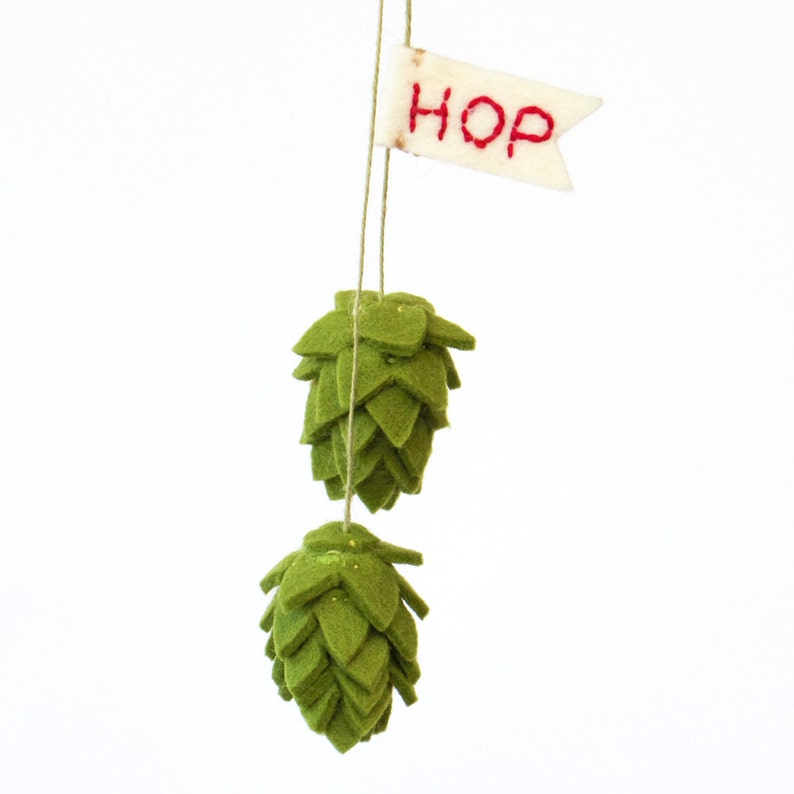 Beer hop Valentine ornament with a flag rear view mirror image 0