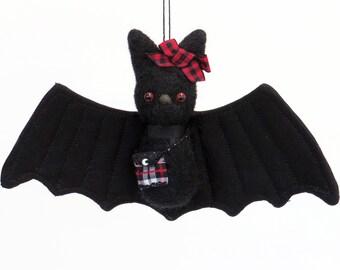 Fall decor, Halloween felt bat ornament, needle felted black bat plush with red eyes, plaid ribbon bow, a purse, kawaii cute goth gift