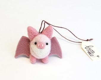 Felt bat, needle felted miniature animal ornament, tiny pink bat, woodland charm, small tree decor, holiday gift