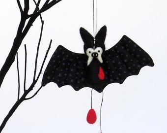 Halloween bat ornament, black vampire bat plush with needle felted red blood drops, cute goth decor
