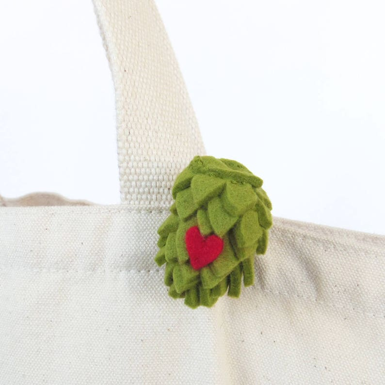 Beer hop brooch  Valentines Day gift for beer lovers craft image 0