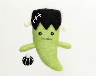Frankenstein felt Halloween ornament : needle felted ghost with a black pumpkin, horror character, autumn gift, fall decor