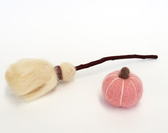 Fall decor - Needle felted pink pumpkin and miniature felt broom with natural wood twig set, Thanksgiving gift, Autumn cottage decoratin