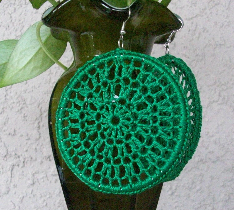 Emerald Green Crochet Earrings Lace Hoops Dream Catcher Etsy
