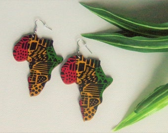 Africa Continent Earrings  Wood Africa Shaped Earrings Red Yellow Green RPG