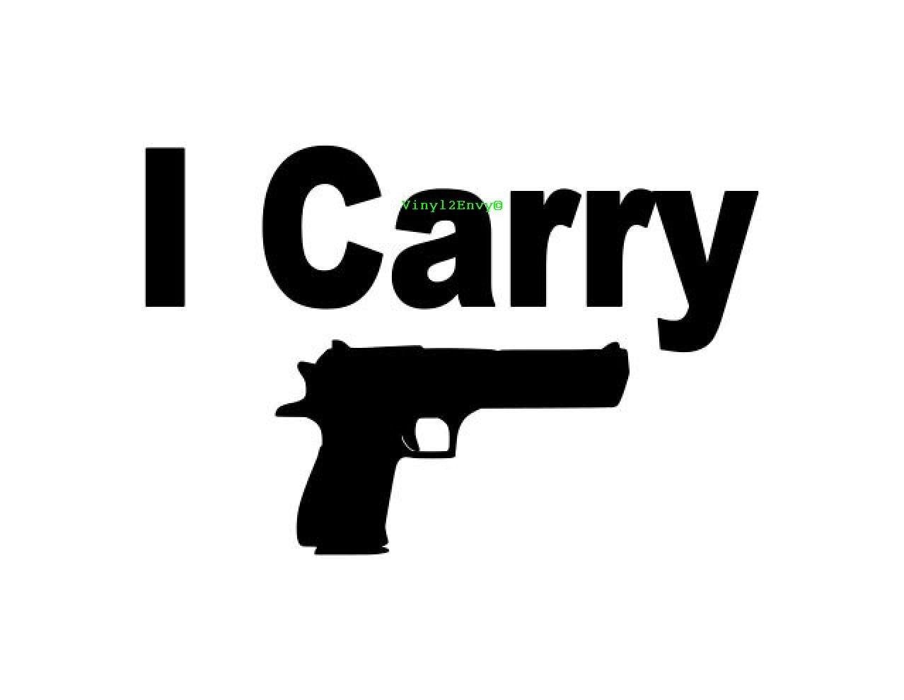 I Carry Gun Decal Car Decal Vinyl Car Decals Window Etsy