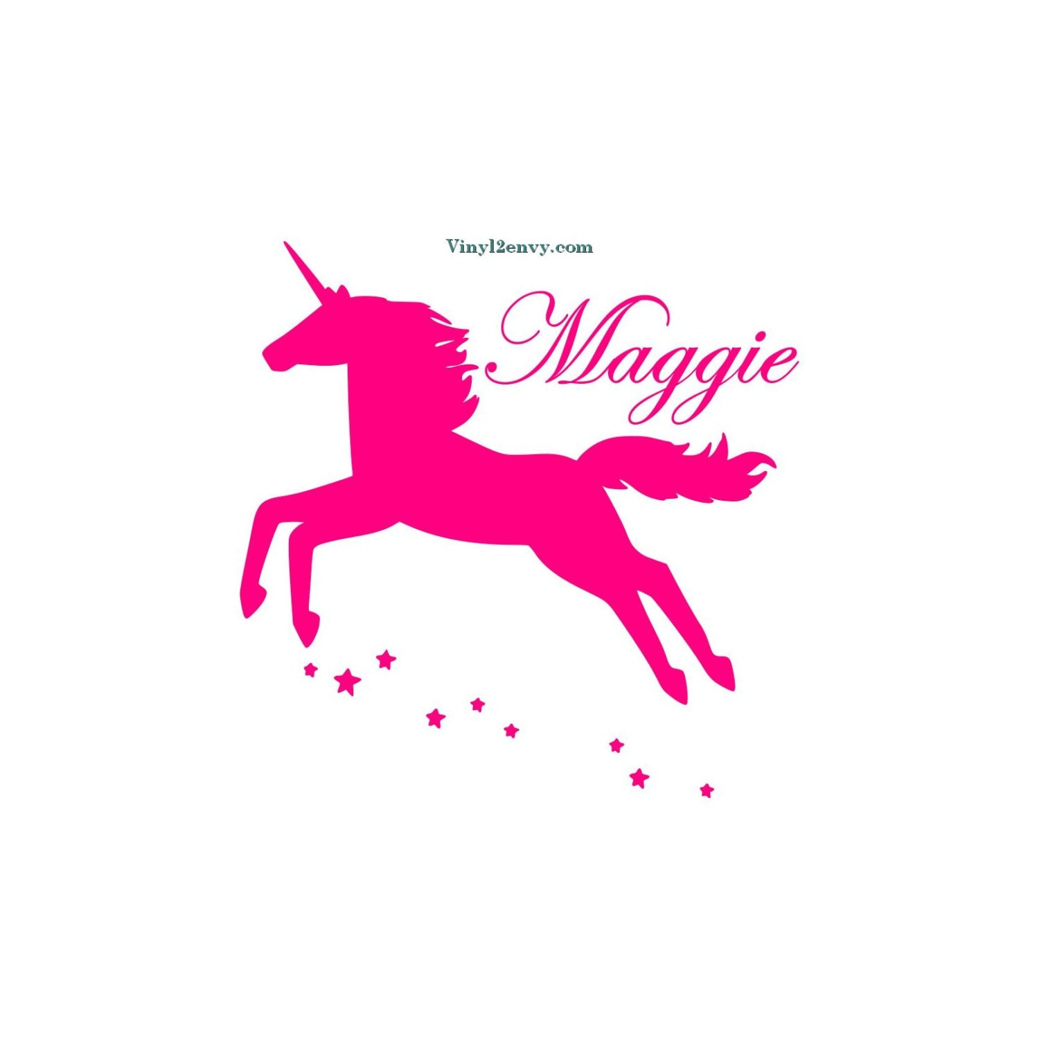 Unicorn With Name Vinyl Wall Decal Wall Decor Wall Etsy