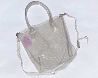 c5c76620fb8e Top Handle Clear Glitter Plastic Tote Bag (Ready to ship)