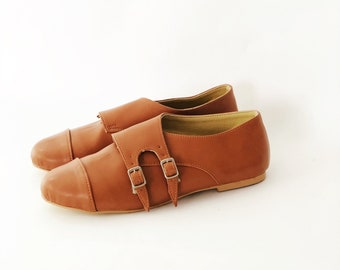 e299b955514 Faux Leather Vegan Monk Strap Flats Shoes (Handmade to order)