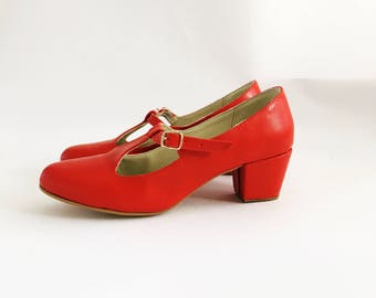 Marianne Faux leather T-bar heels (Handmade to order)