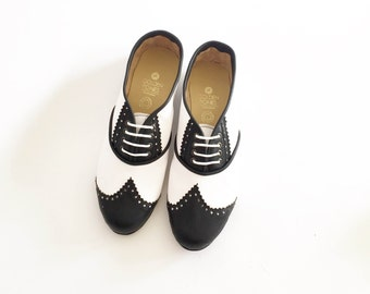 390b5ddfc94 Black and White Pony Brogues (Handmade to Order)