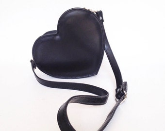 Black Heart Faux Leather Crossbody Bag (Ready to ship)