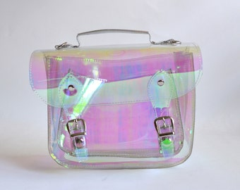 Small Bag number 3 Clear Holographic plastic satchel shoulder strap (Ready to ship)