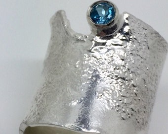 Sterling silver and London Blue Topaz ring. Organic handmade ring, unisex gift, Special gift ring, gift for her, heavily textured ring.