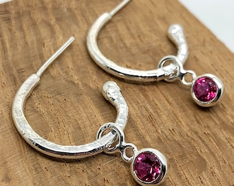 Sterling Silver Hoop and Interchangeable Pink Topaz Dangles. Gift for her, birthday treat, heavily textured hoop studs, birthstone earrings.