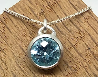 Large Sky Blue Topaz Sterling Silver Pendant. Handmade November birthstone, gift for her, wedding jewellery, statement necklace, luxury.