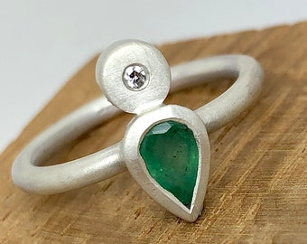 """Emerald and Diamond Sterling Silver ring """"L"""". Handmade Organic April May Birthstone, gift for her, graduation,special occasion, Luxury ring."""