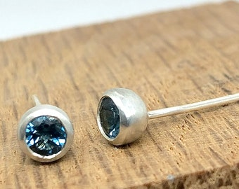 London Blue Topaz Sterling Silver Stud Earrings. December Birthstone, organic cup studs, unisex earrings, wedding, gift for her, luxury.