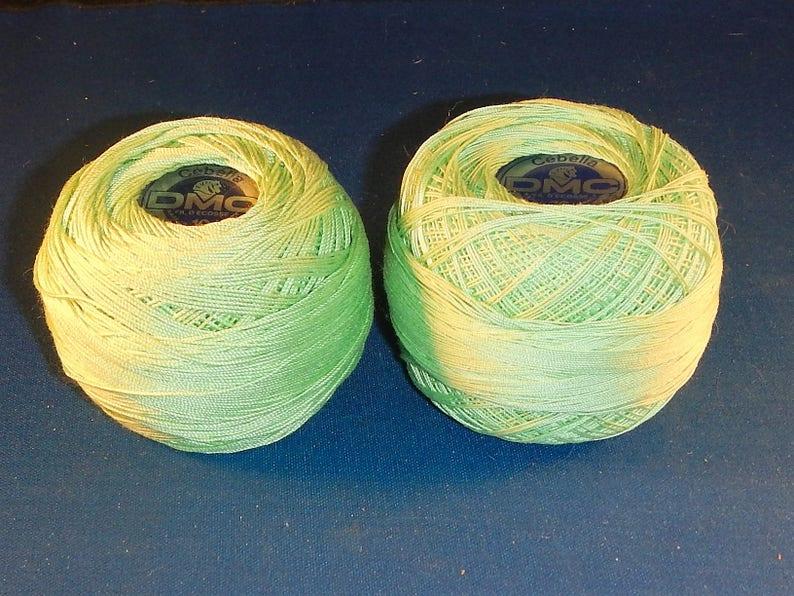 2 Skeins Green Dmc Cotton Crochet Thread Sizes 10 30 Etsy