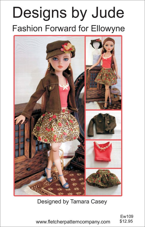 "Fall Dress /& Coat Doll Clothes Sewing Pattern for 16/"" Ellowyne Wilde Tonner"